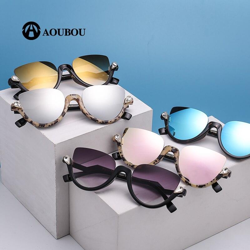 AOUBOU Marca Designer Diamante Olho de Gato Óculos De Sol Das Mulheres Da  Moda Retro AB712 ddc78d25da