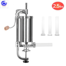 где купить 2.5 LBS Homemade Sausage Meat Stuffer Stainless Steel Manual Vertical Filling Machine Kitchen Tool Syringe enema banger Maker дешево