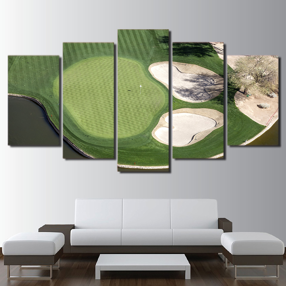5 Panels unframed HD Printed Canvas Art Modern Greed Field Golf Course Wall Pictures for Living Room home decor
