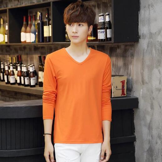 2018 autunno t-shirt da uomo a maniche lunghe di colore solido della caramella pullover Con Scollo A V che basa la camicia