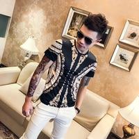 Mens Silk T Shirt Mens Short sleeve Social Luxury Printed New Products 2019 Mode Man Kleding Korean Tee Shirt Homme Fashion Gold