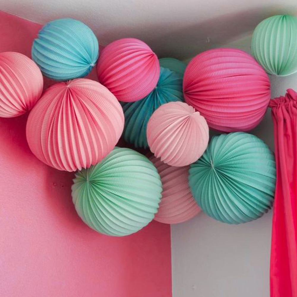 19cm 32cm Accordion Pleated Paper Lanterns Watermelon Lantern Wedding Party Birthday Bridal Easter Decoration For Home Event