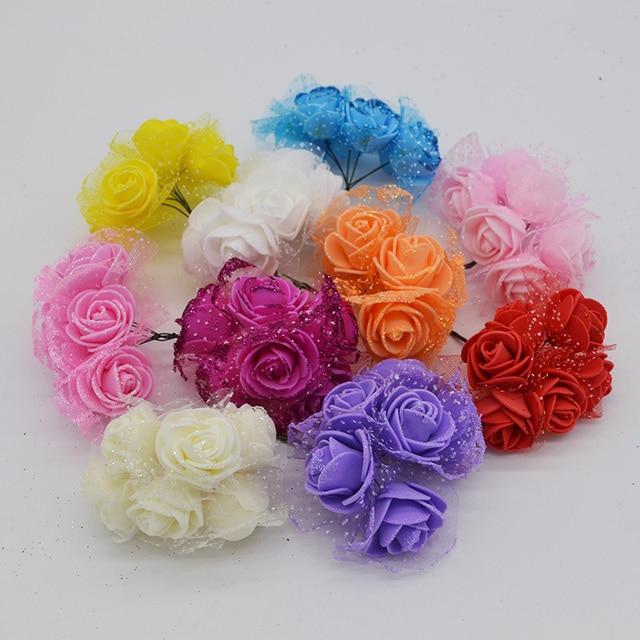 36Pcs/lot 3.5cm Glitter PE Rose Artificial Flower Bouquets For Home ...