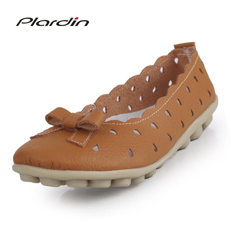 2017 Women Shoes Summer Mother Flats Heel Soft Comfortable Nurse Shoes Knot Flats Bowtie cutouts Genuine Leather Shoes Flats