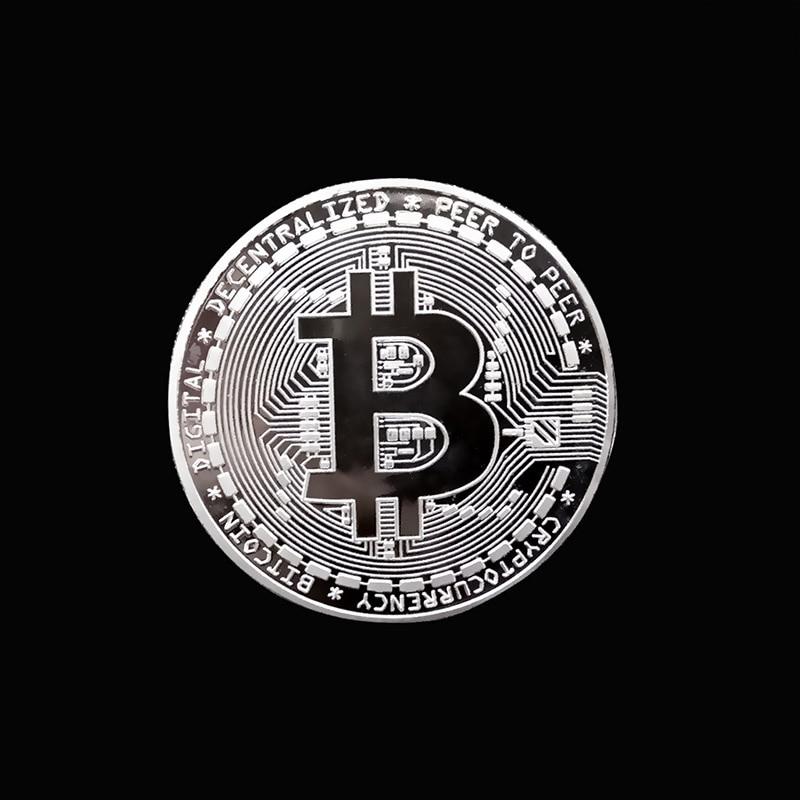 Позолоченные физические биткоины Бит монета BTC с Чехол подарок физический Металл антикварная имитация арт-коллекция монет BTC - Цвет: Silver no shell