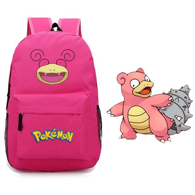 6452c5dd3623 Anime Pokemon Slowbro Flagadoss Lahmus Hot Pink Canvas Printing Emoji Backpack  School Bags for Teenagers Children Backpacks