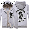 2016 New Winter the Sons of Anarchy Chaos Men Sweatshirt Thicking with Fleece Hooded Jacket Printing Hoodies Men Streetwear
