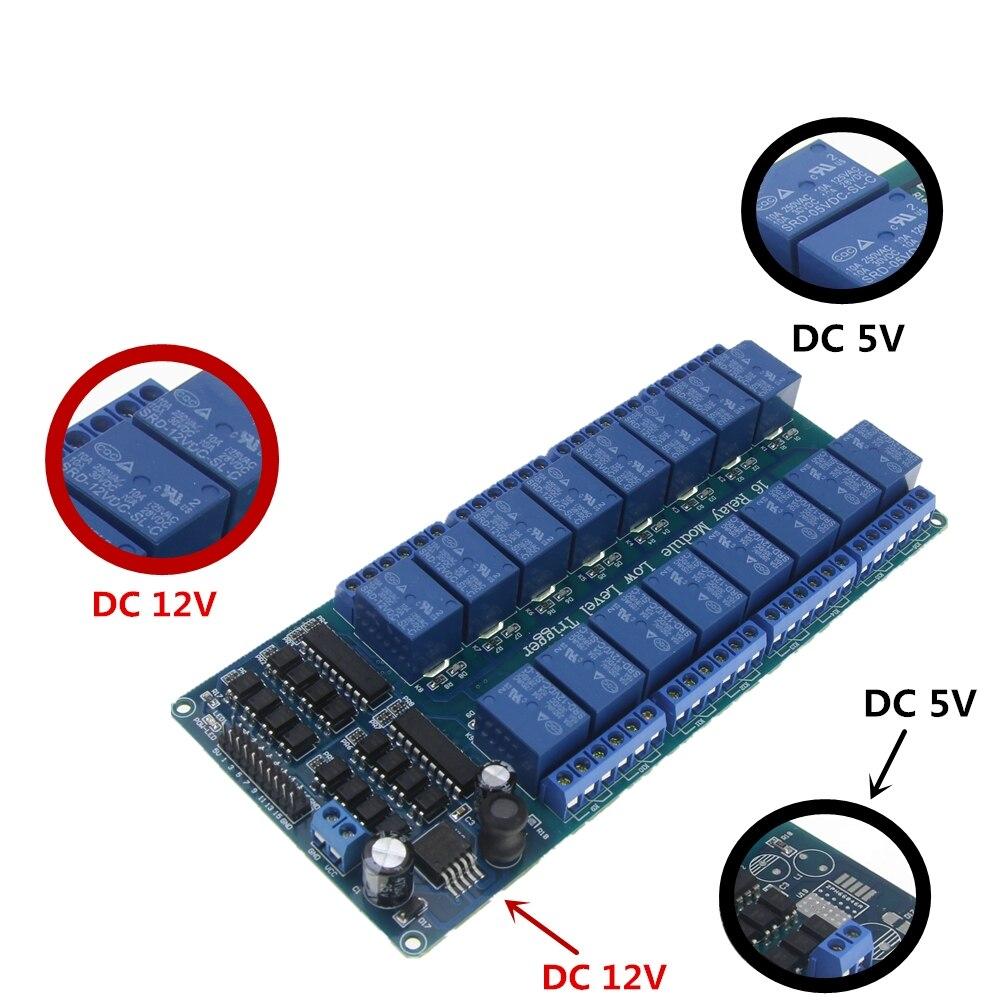DC 5V 12V Dezesseis Canal Módulo de Relé Interface Board Com Proteção Optoacoplador 16 LM2576 Potência para arduino Diy kit