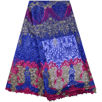 Best Selling Nigerian Lace Fabrics Royal Blue African Cord Lace Fabric High Quality 2018 Guipure Lace Cotton Material S1387