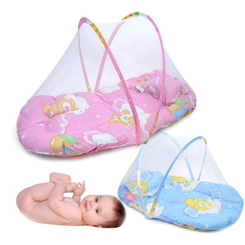 Promotion portable baby bed foldable baby crib with mosquito net spring summer baby bed with mattress pillow YEC003 3pcs set pink baby bedding crib netting folding baby music mosquito nets bed mattress pillow baby crib for baby bed accessories