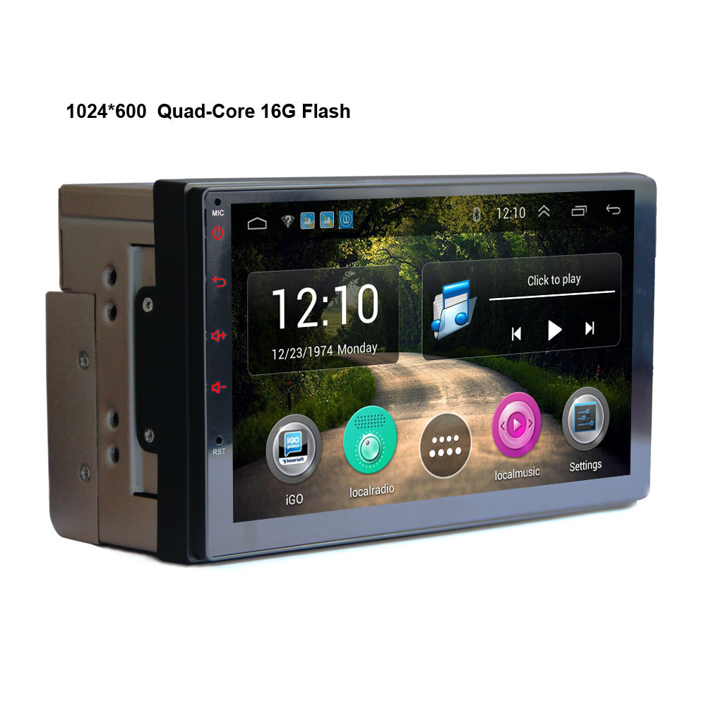 PUZU 7 2din Quad core Android 1024 600 car radio tape recorder GPS WiFi USB Navi