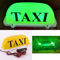 10 LED Car Yellow Taxi Cab Sign Roof Top Topper Super Bright Green Light With Plug