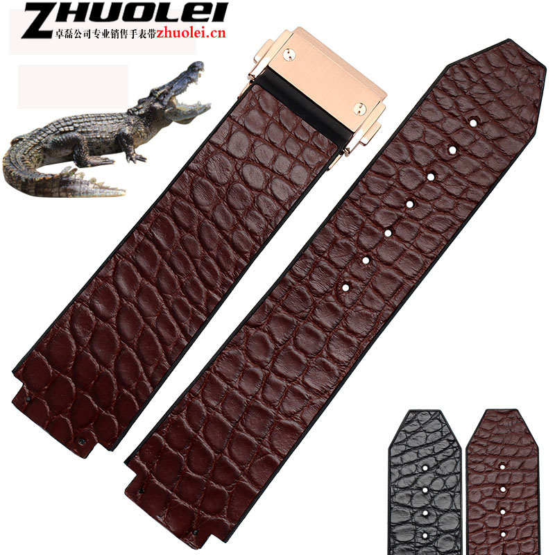 25*19mm alligator leather+rubber  for luxury Wrist watches band black| brown watchband with deployment buckle bracelet 20mm buckle 16mm black brown high quality alligator leather watchband waterproof straps bracelets for brand luxury men watches