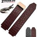 25*19mm leather + rubber para la Muñeca relojes de lujo banda de cocodrilo negro | marrón correa con hebilla de implementación pulsera