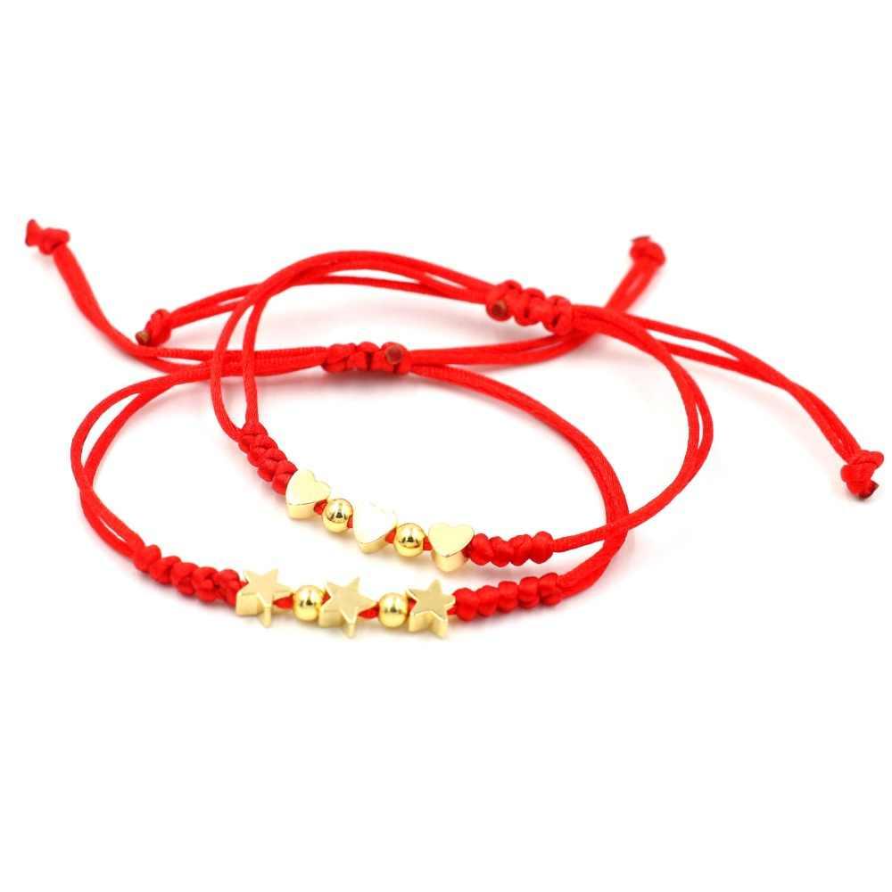 赤スレッド String 3 ハートスターチャーム女性の金幸運ロープ恋人編組アジャスタブルブレスレットガールジュエリー