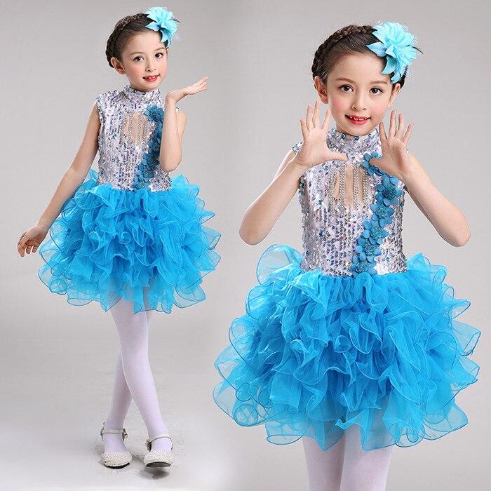 Современные детские танцевальные костюмы для детей; танцевальное платье-пачка с блестками для девочек; танцевальное платье для сальсы для девочек; Одежда для танцев - Цвет: Небесно-голубой