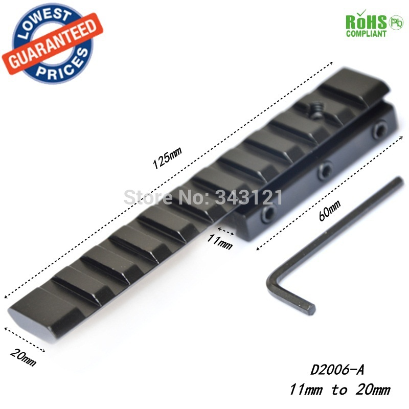 D2006-A 11mm / 10mm untuk 20mm Basis Lingkup Extensible Mount Sporting Picatinny Weaver Rail Lingkup Gunung Lebar 20mm / 21mm Panjang 120mm