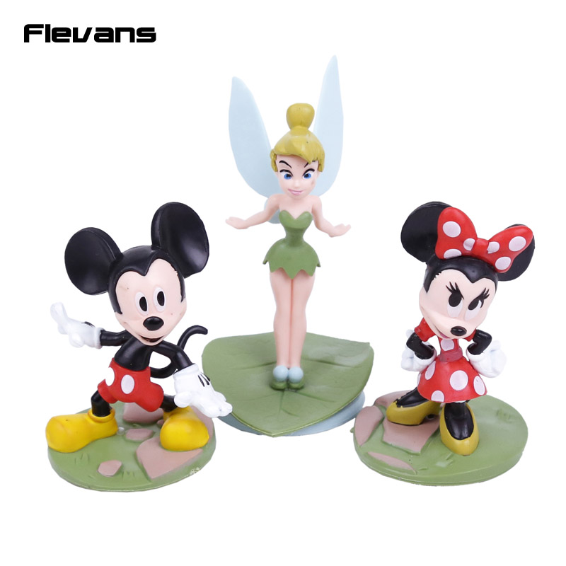 Hot 3pcs/set Tinker Bell Fairies Princess Figures Cake Topper Kids Party Toy Cartoon Mouse Toys kids gifts 7~9cm inverter pg x2 card pg new original