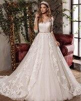 Вивиан Люкс Иллюзия кнопку назад v образным вырезом Свадебное платье Половина рукава пояса длиной до пола с кружевной аппликацией Индивиду