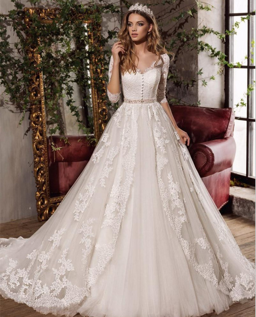 Vivian's Bridal Illusion Back Button V-neck Wedding Dress Half Sleeve Sashes Floor-length Lace Appliques Customized Bridal Gown