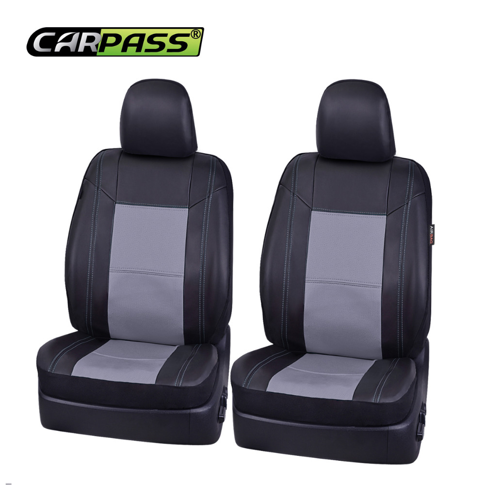 Car-pass 5 Color Seat Covers Universall Auto Car Pu Leather Seat Covers Front Two Car Seat Covers Leather  interior accessories
