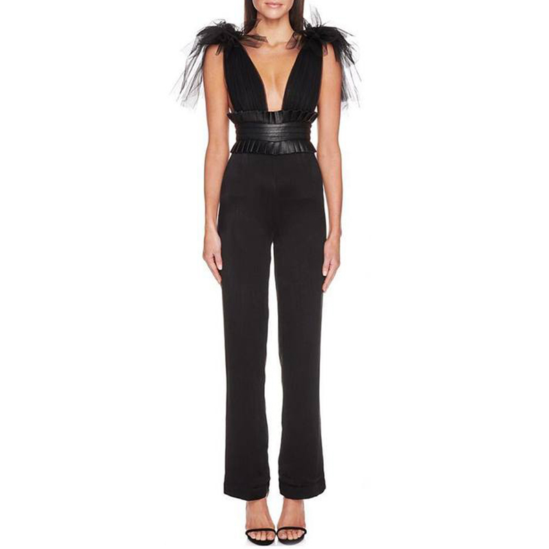 Beateen 2019 New Arrival Mesh Bow Tie Detail Frill Cinching Sexy Deep V Neck Sleeveless Backless Straight Bandage Jumpsuit-in Jumpsuits from Women's Clothing    3