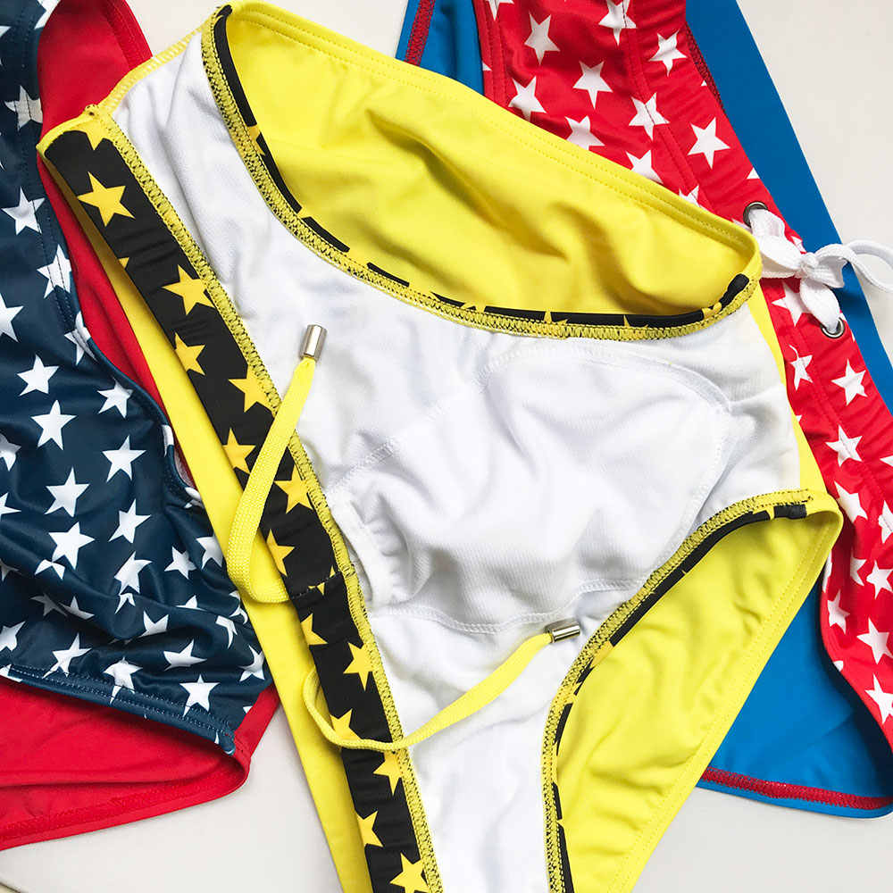 السباحة ملخصات سراويل للسباحة ملابس السباحة السراويل الملاكمين مثير خليط الرجال الثلاثي منخفضة الخصر اللون سلسلة الساخن بيع