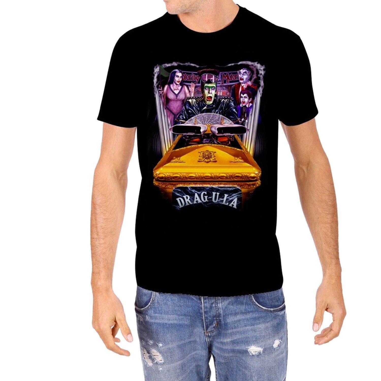 Munster Motoring Drag U La Mens T Shirt Short Sleeve T-Shirt Funny Print Top Tee Cartoon Character Basic Tops Text Plus Size