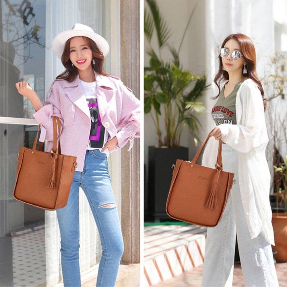 Fashion 4Pcs/Set Women Composite Bags PU Leather Tassel Shoulder Bag Ladies Clutch Handbag Set Large Capacity Tote Bag bolsas