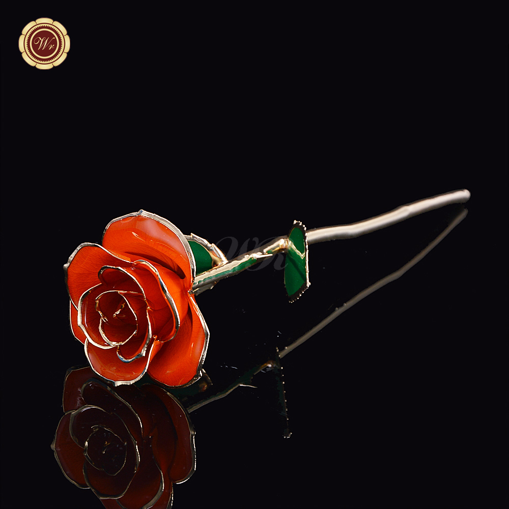 24K Gold Plated Orange Rose Flower Home Decoration Flowers Creative Valentines Day Gift Romantic for Lover Girl Friend