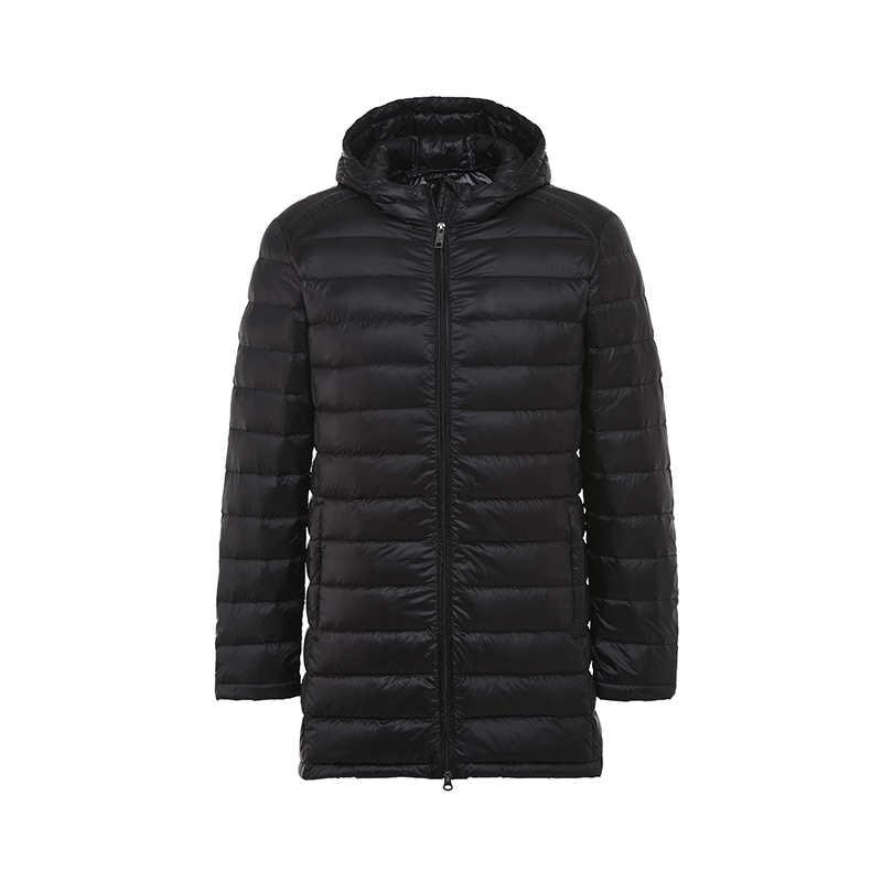 Новая осенне-зимняя мужская белая куртка на утином пуху, тонкая парка, мужская Тонкая куртка с длинным капюшоном, плюс размер, ультра легкая пуховая верхняя одежда SF618