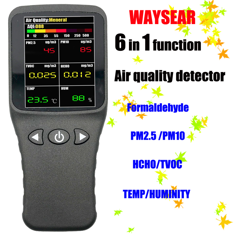 WAYSEAR 6 in1 Air quality detector Formaldehyde detector pm2.5 tester HCHO TVOC PM10 Gas Analyzer tool with Rechargeable battery 6 in1 household laser formaldehyde detector ch2o tvoc high precision laser pm2 5 tester air quality detector color display style