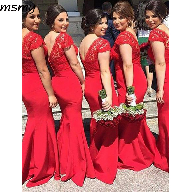 Pretty A-Line V-Neck   Bridesmaid     Dresses   Cap Sleeves Red Cheap Long   Bridesmaid     Dresses   With Lace Custom Made
