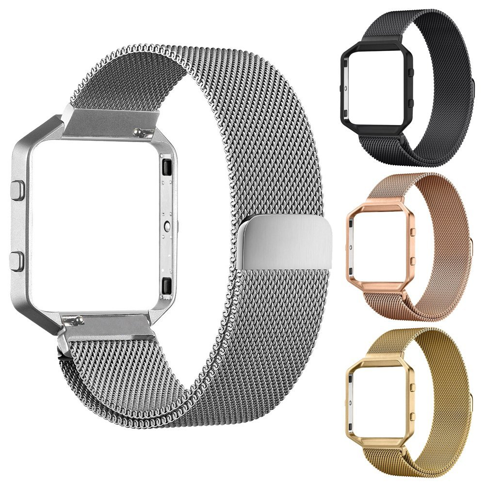 Four Colors Stainless Steel Magnetic Closure Milanese Strap with Metal Frame Case Connect Case for Fitbit