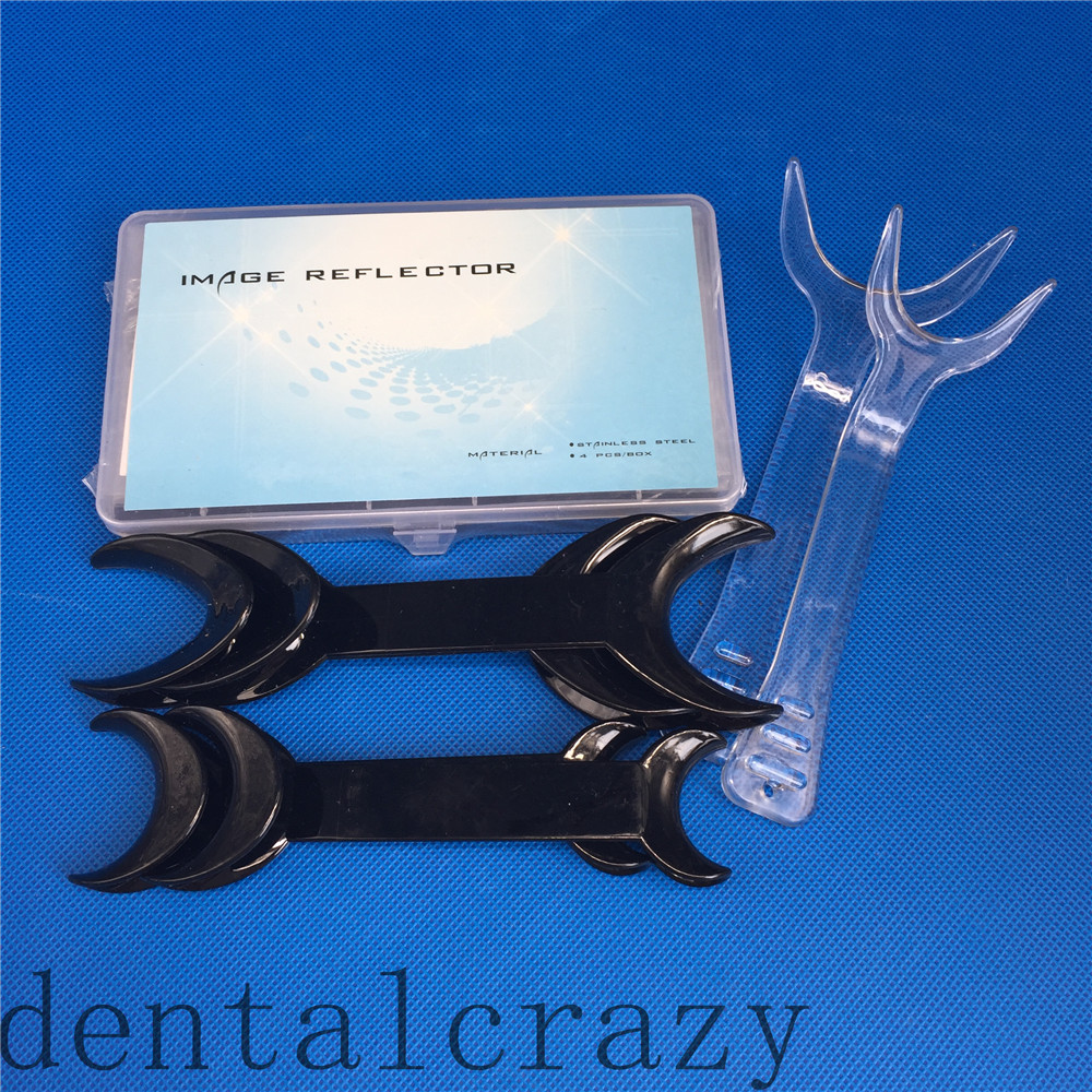 NEW Dental Clinic Stainless Steel Photographic Mirror +4Pcs Black T-Shaped +2pcs Orthodontic Intraoral Cheek Lip Opener