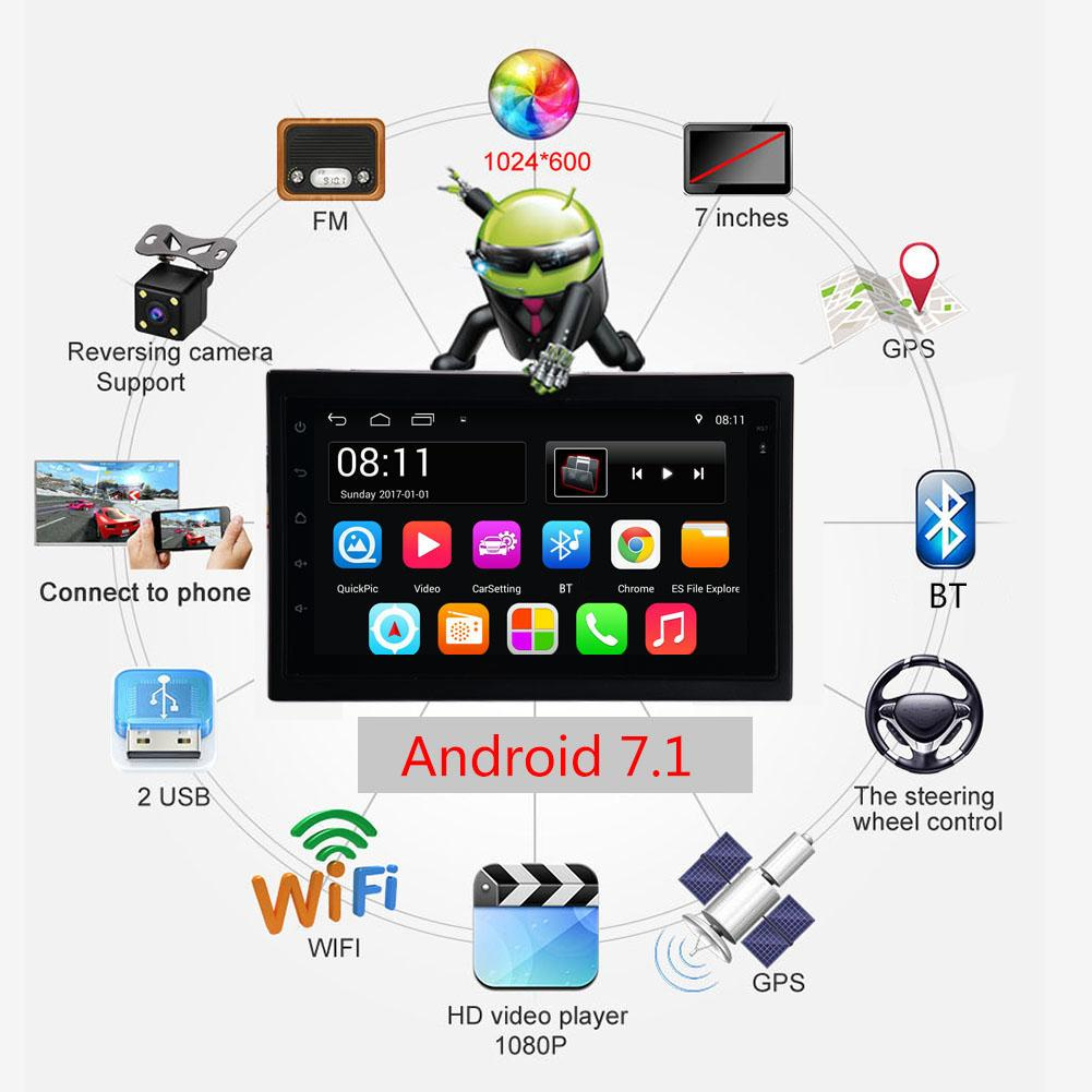 DC12V 2 DIN 7''1080P Touch Screen QUAD-core Android 7.1 GPS Navigation Bluetooth FM WiFi Auto Radio MP5 Player Rear View Camera 7 touch screen 2 din quad core car radio android 7 1 wifi bluetooth auto mp5 player gps navigator autoradio with reverse camera