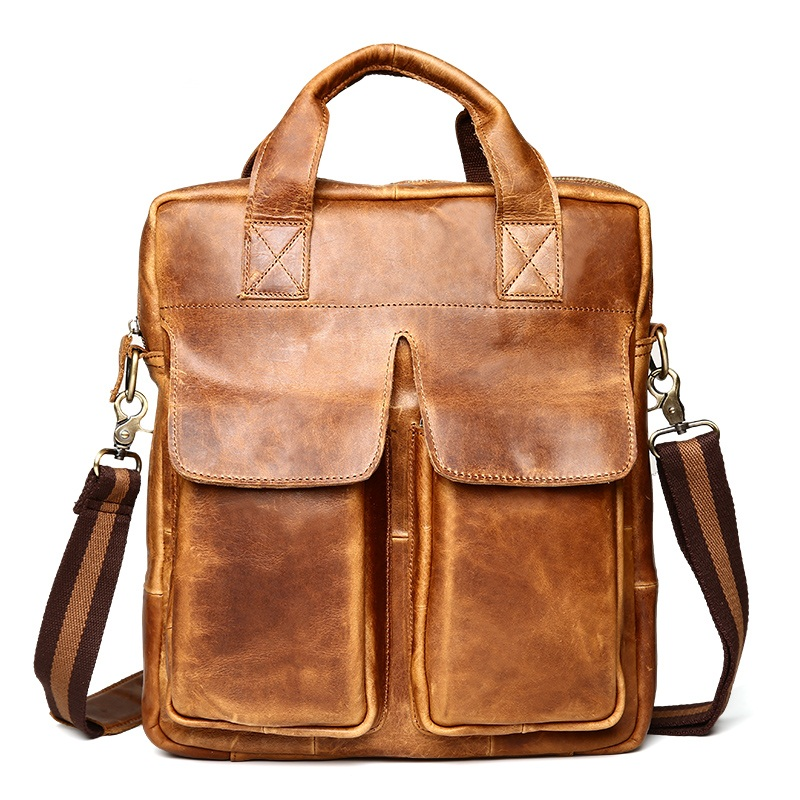 Vintage Genuine Leather Men Briefcases Laptop Bag 14 Handbags Crazy Horse Cowhide Casual Men Travel Shoulder bags Crossbody Bag lacus jerry genuine cowhide leather men bag crossbody bags men s travel shoulder messenger bag tote laptop briefcases handbags