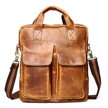 "Vintage Genuine Leather Men Briefcases Laptop Bag 14"" Handbags Crazy Horse Cowhide Casual Men Travel Shoulder bags Crossbody Bag(China)"