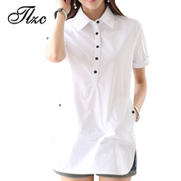 Popular Summer Style Blusa Feminina Lady Cotton Shirts Size S 3XL White Color Short Sleeve Women