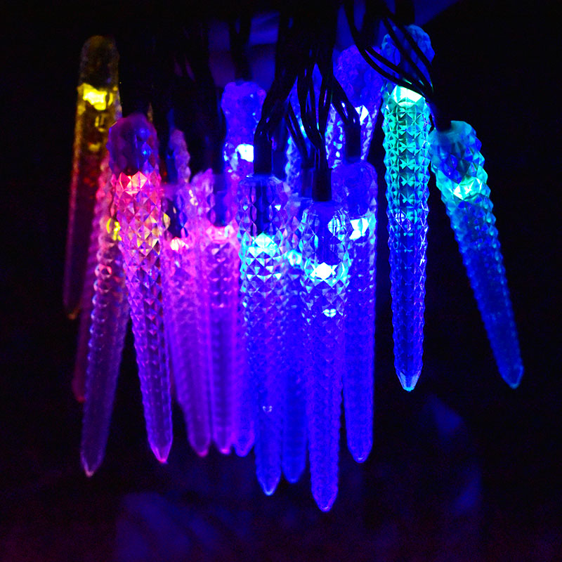 Buy led icicle solar powered string - Decorative garden lights solar powered ...