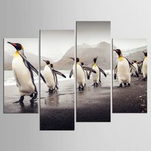 4 Panel style Mordern Canvas printing Cute Animals Penguins Print Poster Kids Bedroom Wall Picture Painting Home Decor(China)