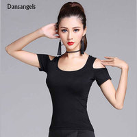 New Fashion Black Short Sleeve Cutout Sexy Latin Dance Clothes Top For Women Female Ballroom Costume