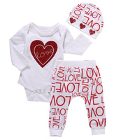 2017 Brand Newborn Infant Clothing Baby Girl Love Heart Long Sleeve Romper Pants Hat 3pcs Baby