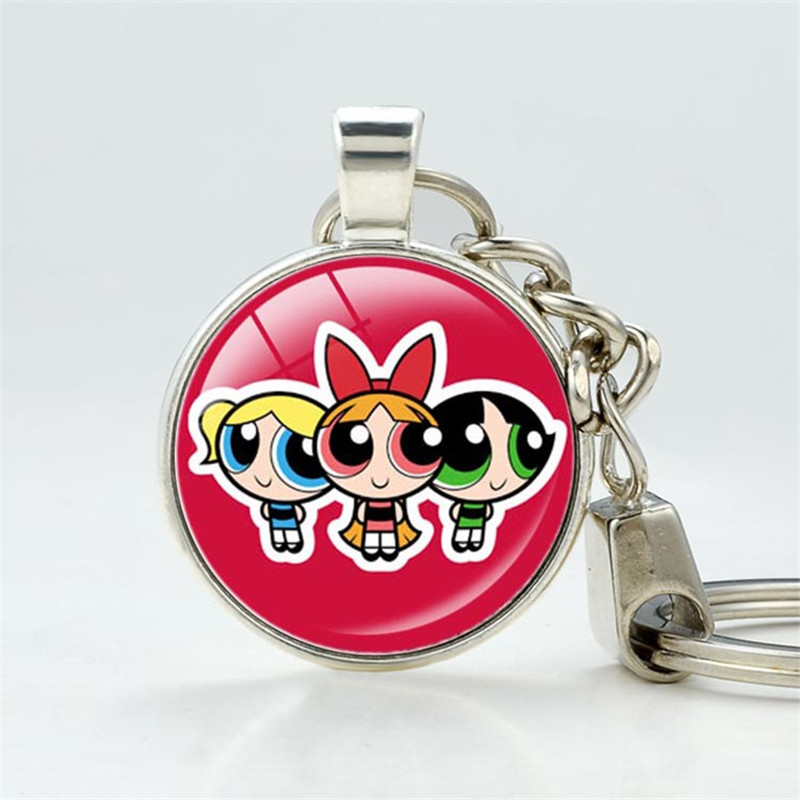 New Cartoon Network Powerpuff Girls Keychains Cute Keychain For Couples Jewelry Mother -2208