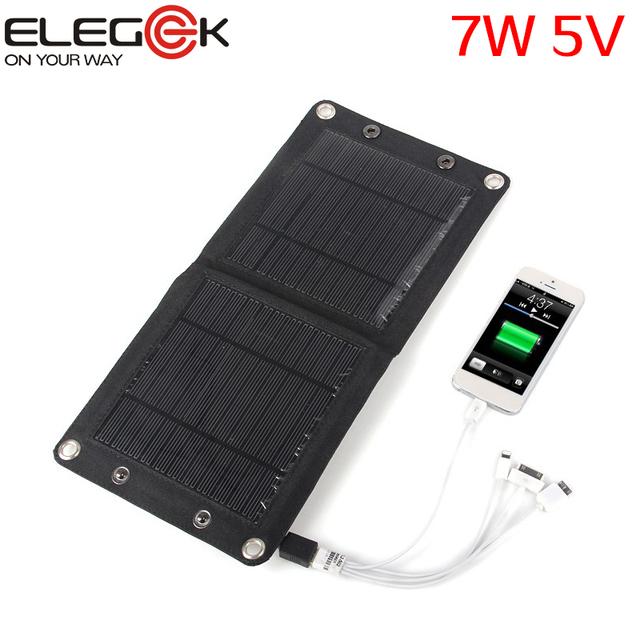 Elegeek 7 w 5 v dobrável carregador de painel solar ao ar livre portátil dispositivo usb carregador de painel solar para iphone samsung android