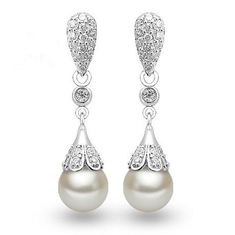 White Pearl Earring 925 Sterling Silver Náušnice pro ženy Módní šperky Dárkové Velkoobchod Drop Shipping