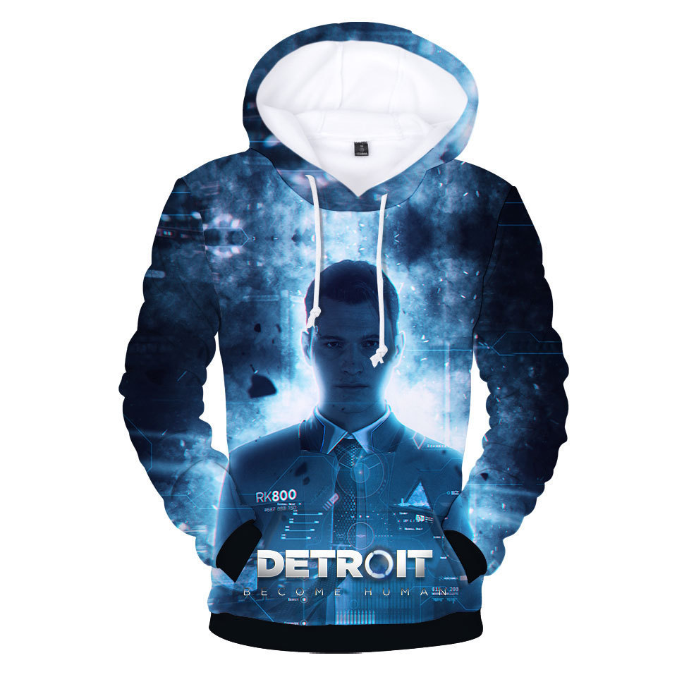 Dropshipping Heat Search Detroit: 3D Print Become Human Detroit : Become Human Beings Number Printing Hoodies 3D Hot Sale