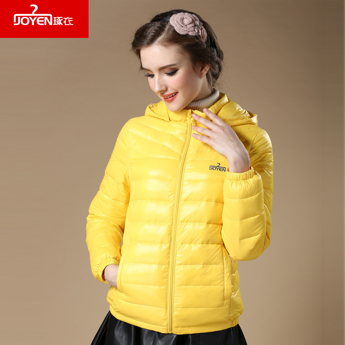 Joyen casual with a hood short design   down     coat   female long-sleeve slim thin duck   down   jacket 90% white duck   down