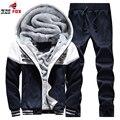 New 2PCS set autumn Winter Thick fleece Soft Warm Sweatshirt Men Patchwork Casual Hoodies Tracksuit Mens Sweat sportSuit 3XL,4XL