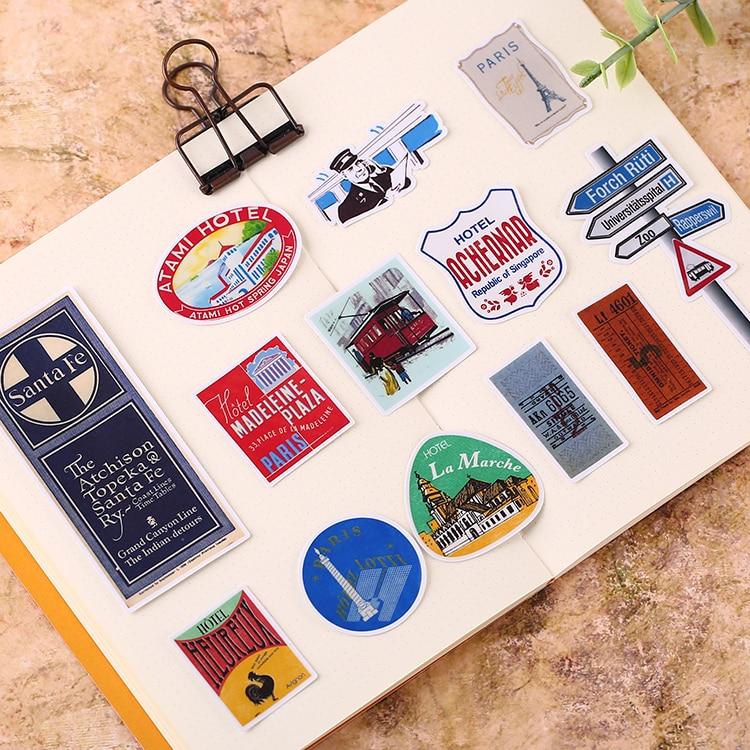 60pcs/ pack Creative Cute Self made Retro Tools Travel ...